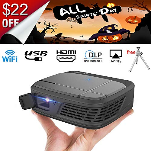 LED DLP Projector 3D Pico Micro Video Projector - WiFi Pocket Size Portable...
