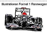Illustrationen Formel 1 Rennwagen (Wandkalender 2022 DIN A4 quer)