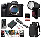 Sony Alpha a7R IV Full-Frame Mirrorless Digital Camera (Body Only) ILCE7RM4/B, Flash Bundle with Flashpoint TTL Speedlight, Backpack, Battery, Charger, 128GB SD Card, Wrist Strap, PC Software Kit