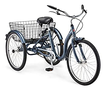 Schwinn Meridian Adult Tricycle with 24-Inch Wheels in Slate Blue with Low Step-Through Aluminum Frame Front and Rear Fenders Adjustable Handlebars Large Cruiser Seat and Rear Folding Basket