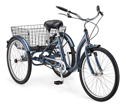 Schwinn Meridian Adult Tricycle with 24-Inch Wheels in Slate Blue, with Low Step-Through...