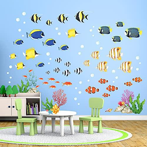 DECOWALL DW-2001 Acuarela de peces tropicales Vinilo Pegatinas Decorativas Adhesiva Pared Dormitorio Saln Guardera Habitaci Infantiles Nios Bebs
