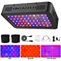 600W LED Grow Light, Growing Lamp Full Spectrum for Indoor Hydroponic Greenhouse Plants Veg and Flower with Double Switch & Dual Chip, Daisy Chain, UV & IR, Adjustable Rope Hanger (60pcs 10W LEDs)