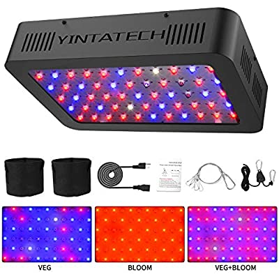 600W LED Grow Light, Growing Lamp Full Spectrum for Indoor Hydroponic Greenhouse Plants Veg and Flower with Double Switch & Dual Chip, Daisy Chain, UV & IR, Adjustable Rope Hanger (66pcs 10W LEDs)