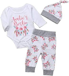 Infants Newborn Baby Girls Outfit Set Auntie's Bestie Romper + Floral Pants +hat