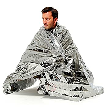 Lot de 5 Couvertures d'urgence 210 x 140 cm, couverture de survie réfléchissante à la chaleur, couverture thermique argentée