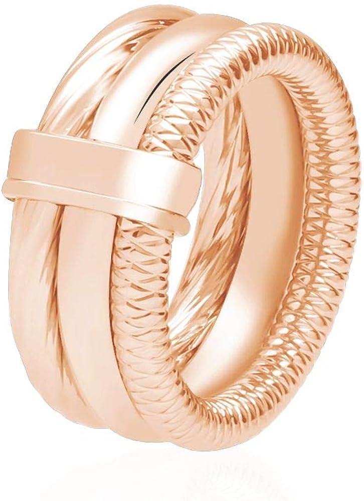 Stroili anello per donna a tre giri in acciaio rosato 1664545