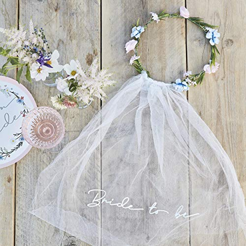 Ginger Ray 'Bride to Be' Hen Party Veil with Floral Crown Accessory