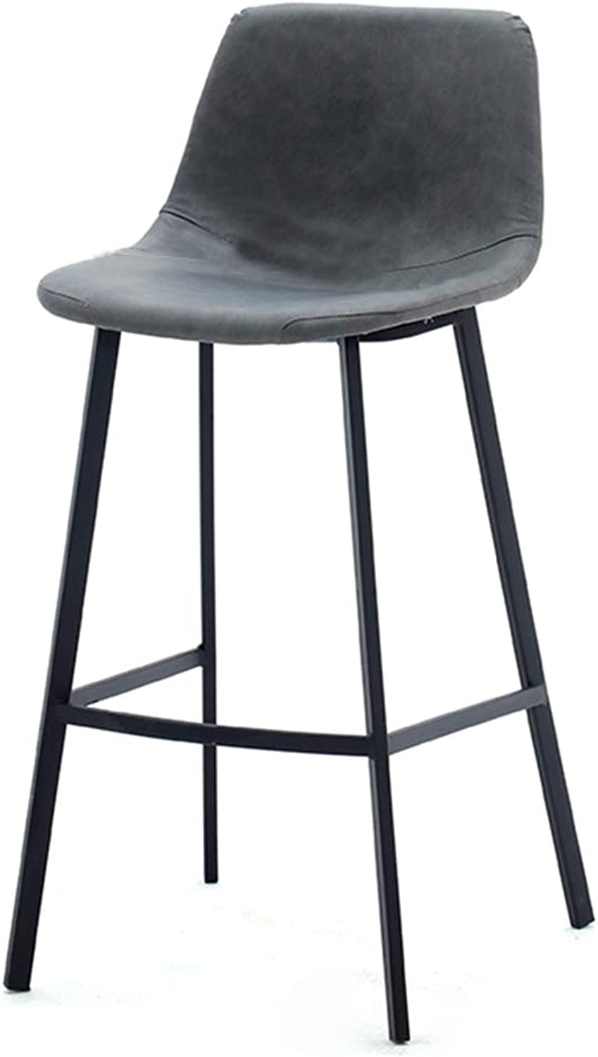 DingHome-ca Counter Height Barstool - Nordic Luxury Minimalist Style - Black Wrought Iron Base - Multicolor Artificial Leather Seat