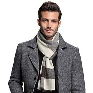 RIONA ウール マフラー メンズ 秋 冬 大判 ストライプ おしゃれ 暖かい 羊毛 マフラー 上品 箱入り ベージュ