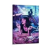 KOREYOSHIX Arte impreso para la decoración de la pared Pulpa Fiction Poster Of 90s Room Estética Retro Futuristic Neon Style Black Art Movie Poster Dormitory Room Decoration 60x90cm