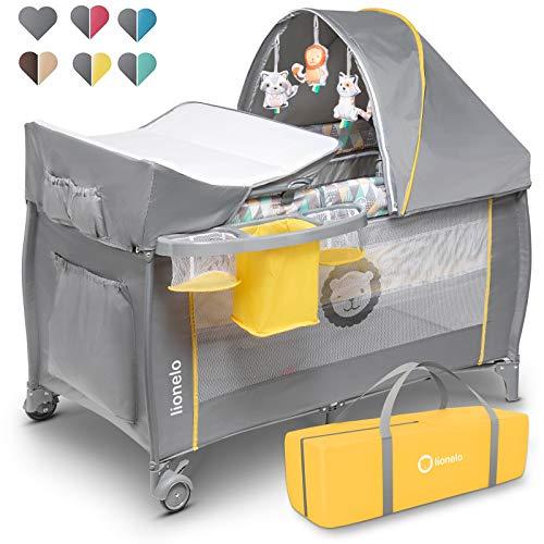 Lionelo Sven Plus 2 in 1 Baby Bett Laufstall Baby ab Geburt bis 15 kg Wickelauflage Moskitonetz luftige Seitenwände mit Seiteneingang Tragetasche zusammenklappbar (Yellow Scandi)