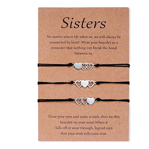 CheersLife 3 piezas madre hija pulsera pulseras a juego de acero inoxidable regalo para madre e hija pulseras de corazón ahuecadas