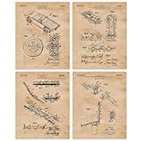 Vintage Hot Wheels Patent Poster Prints, Set of 4 (8x10) Unframed Photos, Great Wall Art Decor Gifts Under 20 for Home, Office, Shop, Studio, Garage, Man Cave, Student, Teacher, Cars & Coffee Fan
