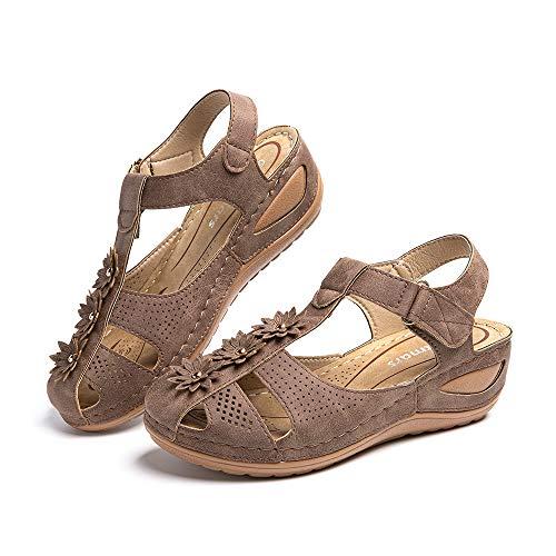 Sandalias Mujer Verano Cuña Cómodos Mules Zuecos Casual Retro Wedge Zapatos de Playa Zapatillas de Vestir Talón 5cm Negro Marrón Beige Número 35-43 EU