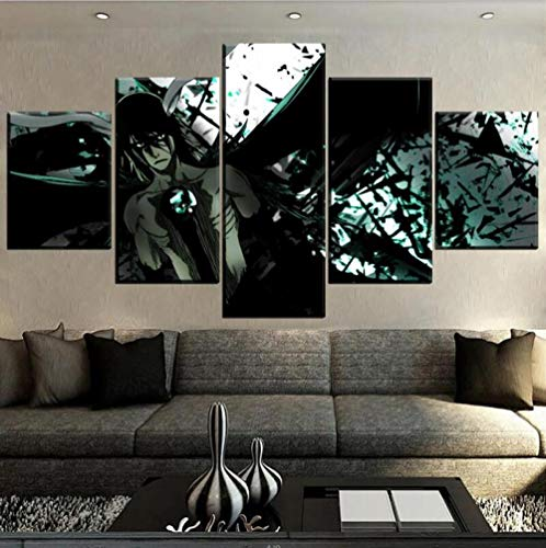 Leinwanddrucke,5 Stück Anime Bleach Cartoon Leinwand Malerei Moderne Modulare Bild Poster Home Wandkunst Dekoration (Kein Rahmen) Größe L.