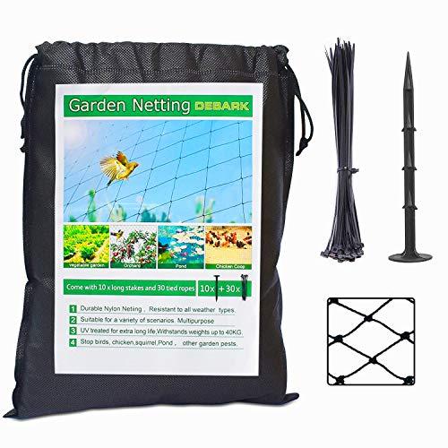 【Update】 DEBARK 25' X 50' Bird Netting Heavy Duty Poultry Netting Protect Plants and Fruit Trees Garden Net 2.4' Square Mesh Size (25' x 50'-2.4')