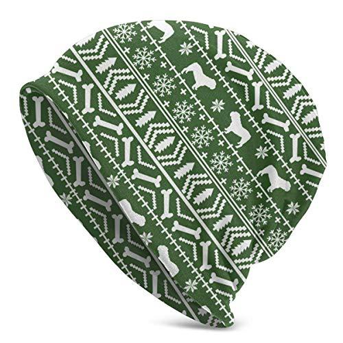 LREFON Skizze Weihnachtsbaum Handschuh Pflanze Unisex Mütze Baggy Hat Slouchy Hedging Skull Cap