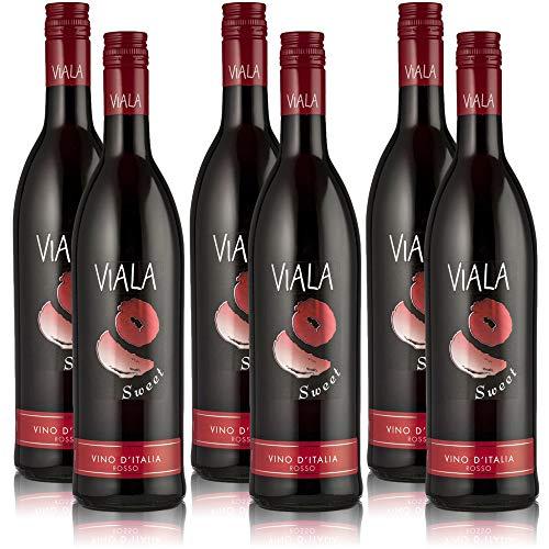 6 Flaschen Viala Sweet Rosso, süsser Rotwein aus Italien (6x0,75l)