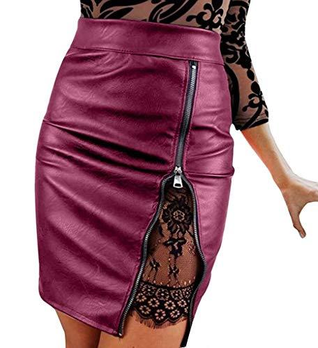 XGBDTJ De Encaje Hasta La Rodilla De Cuero Faldas Midi Lápiz De Mujer Falda Faldas De Talle Alto Delgado Del Partido Del Club Del Desgaste Faldas Una Línea Elegante Falda De Las Muchachas Del