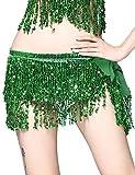 Falda Danza del Vientre para Mujer Lentejuelas Latino Flecos Irregular Falda Corta Baile de Salón Disfraz Fiesta Dancewear Verde Color Talla Única Green