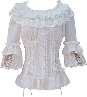 Ruffle Retro Chiffon Half Sleeve Victorian Lolita White Blouse