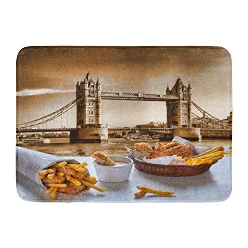 SUPERQIAO Paillassons Tapis de Bain Tapis de Porte extérieur/intérieur British Fish and Chips Contre Tower Bridge à Londres Angleterre Cuisine déjeuner Salle de Bain décor Tapis Tapis de Bain