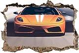 Tatuaje de pared en 3D coche elegante naranja agujero de la pared Sticker Pegatina Adhesivo Calcomanía Decoración para dormitorio o la sala de estar 60x90cm