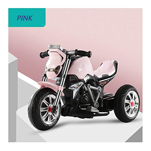 Electric Motorrad für Kinder, mit Musik Elektromotorrad für Kleinkinder ab 3 Jahren Elektroroller, für Jungen Mädchen Geschenk, Kann mit U Speicherkarte Verbunden Werden,Rosa