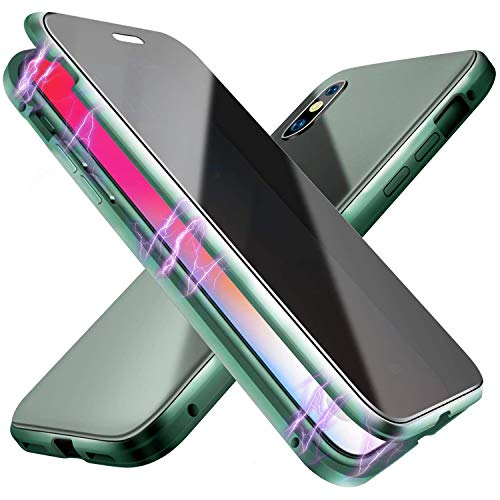 Oihxse - Funda magnética para iPhone SE 2020, antipeep frontal de cristal templado con protección de parachoques de 360 grados, color verde