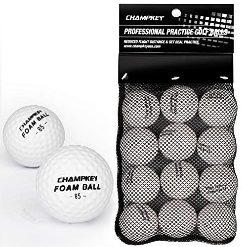 Champkey Compressed Foam Golf Balls(12 Pack or 24 Pack) | True Spin and Feel Practice Golf Balls | Weighted Foam Balls Ideal for Indoor or Outdoor (White, 24 Pack)