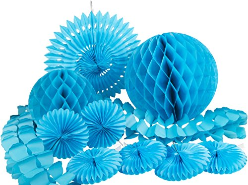 HEKU 30008-03: Party-Deko-Set mit Wabenbällen, Dekofächern und einer Girlande aus Papier, 10-teilig, türkis