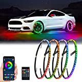 DING.PAI 4pcs 14.5 inch LED Wheel Ring Lights RGB Fit for Truck Car with 17' 18' Tires Brake Multi Colors Rim Lights Controlled by Remote and Bluetooth APP Tires Kit Waterproof Aluminum Accessories