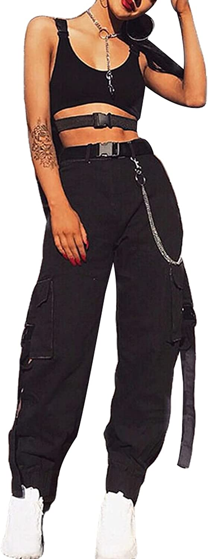 Women's Hiking Cargo Pnats High Waist Beam Feet Work Pnats with 2 Stitching Pocket