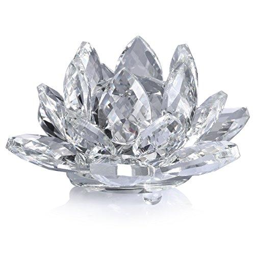 Neewer 10cm Fleur de Lotus en Cristal Clair avec Boîte-Cadeau pour Décoration de Marriage/ Maison/ Bureau