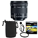 Canon EF-S 10-18mm f/4.5-5.6 is STM Lens + Polaroid 67mm UV Filter + Ritz Gear Medium Neoprene Protective Pouch for DSLR Camera Lenses & Lens Cap Strap
