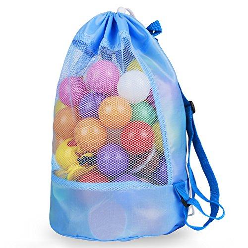 Samione Strandspielzeug Tasche für Sandspielzeug, Strandtasche Groß, Wasserspielzeug Rücksack Beutel für Kleinkind Kinder, XXL Mesh Badetasche für Familie Urlaub