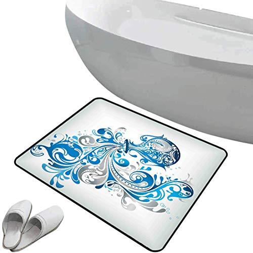 Alfombra de baño antideslizante Zodiaco acuario suave antideslizante Cucharón con líneas ornamentales remolinadas Artístico Desplazamiento del horóscopo,gris plateado azul cobalto, Para ducha Felpudo