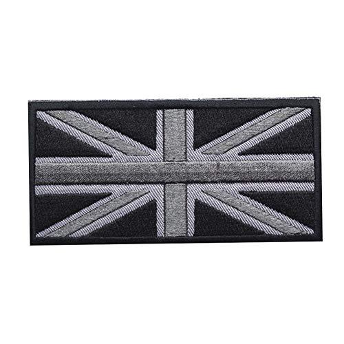 Applique England Flag UK Great Britain  Aufnäher mit Union Jack, britische Nationalflagge, bestickt, zum Aufnähen schwarz grau