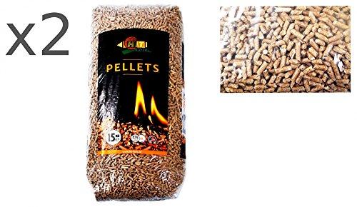 2x15kg Holz-Pellets 6mm ENplus A1DIN Sackware Brennstoff Pelletofen Ofen Heizung