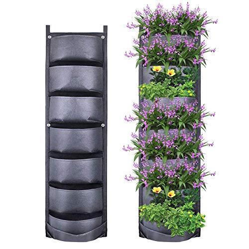 Yuccer Fioriera Verticale da Parete 7-Pocket Giardino Verticale Vaso Verticale da Parete per Piante da Giardino Verticali, Fiori (Nero)