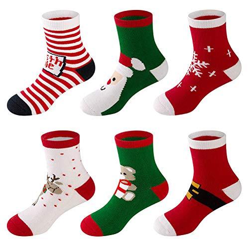 LifeWheel 6 Pares Bebe Niños Niñas Calcetines de Algodón de Navidad Lindo Divertido Mantener el calor y Respirable Calcetines