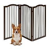 COSTWAY Barrera de Seguridad Plegable para Perros Valla Protección de Madera para Habitación Puerta Escalera Chimenea (153 x 93 x 2 cm)