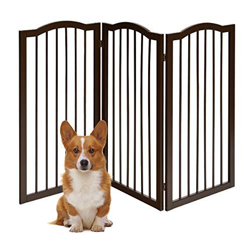 DREAMADE Cancello per Animali Domestici in Legno, Cancelletto di Sicurezza, Pieghevole, Regolabile, per Cani e Bambini (153 x 93 x 2 cm)