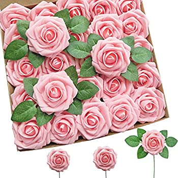 Artificial Flowers 25pcs Pink Real Looking Foam Roses Fake Flowers with Stems for DIY Wedding Bouquets Party Home Centerpieces Decoration