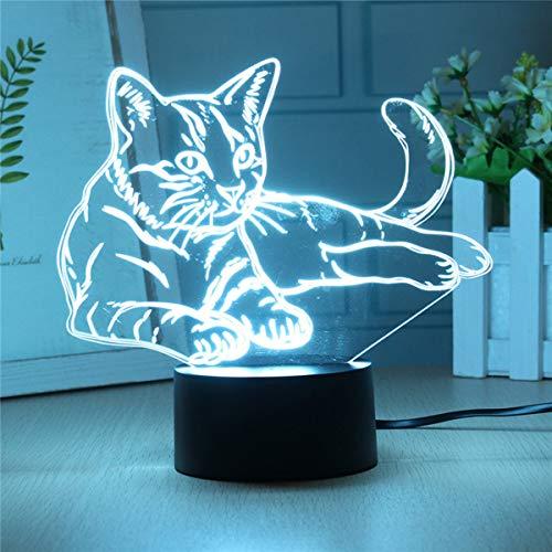 Lovely Cat 3D Night Light Lámpara Led Ilusión Luz Nocturna Interruptor Táctil Óptico 7 Colores Con Cable Usb Lámpara De Escritorio Animal Deco Para Habitación De Niños Juguete De Regalo