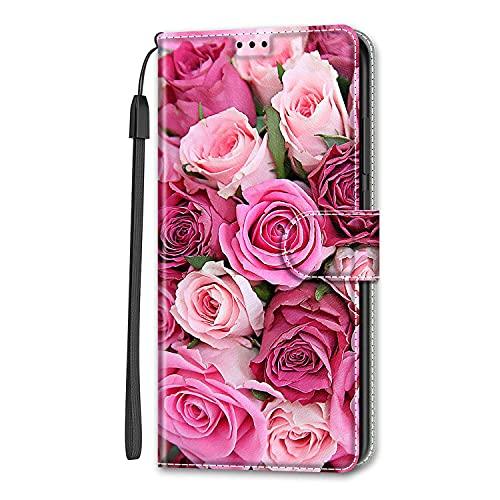 Nodigo per Samsung Galaxy J6+/J6 Plus 2018 Cover a Libro Pelle PU Portafoglio Magnetica con Disegni Animale Motivo Antiurto Case Flip Silicone Bumper Belle Kawaii Protettiva Custodia - Fiore