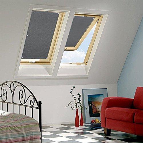 KINLO Rollo Dachfenster Grau 48x93cm aus hochwertigem Polyster Seitenzugrollo Auto Sichtschutz für Verlux Dachfenster Verdunklungsrollo Klemmfix Roto einfache Montag plissee Fenster