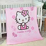 Blanket Cartoon Hello Kitty Printing Throw Blanket Soft Cover Flannel Cozy Plush Fleece Blanket for Boys Girls Kids Toddler Baby (Pink)