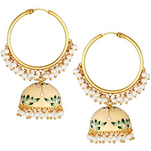 Aheli Jhumki Jhumka - Pendientes esmaltados con perlas sintéticas de gota